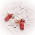 Korall-gyöngy fülbevaló, Ékszer, Karkötő, Igazi gyönyörű, különleges  ékszer! Valódi korallok és édesvizi tenyésztett gyöngyök kom..., Meska