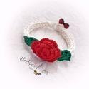 Bohém karkötő rózsával, Ékszer, Karkötő, A bohém kollekcióm  egyik darabját látod,.  Hófehér      fonalból, horgolással készült,  színes horg..., Meska