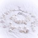 Többsoros gyöngyös -kristályos nyakék  menyasszonyoknak, Ékszer, Esküvő, Nyaklánc, A menyasszonyos karkötőhöz  készítettem,fehér tenyésztett gyöngyökkel, és kristályokkal ,..., Meska