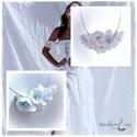 Hófehér virágos horgolt nyakék, Ékszer, Nyaklánc, A nyakbavaló vékony pamutfonalból  horgolással készült. 11 csodás kis virág. kék porzókkal, festett ..., Meska