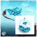 Kék virágos horgolt nyakék, Ékszer, Nyaklánc, A nyakbavaló vékony pamutfonalból  horgolással készült  A világoskék gyönyörű árnyalatai, aprólékos ..., Meska