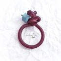 Gyűrű  kaucsukkal és türkinittel, Ékszer, Gyűrű, Aszimmetrikus formájú gyűrű, színes kaucsukkal és türkinittel , belül acélszállal. Kényelmes viselet..., Meska