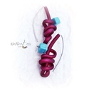 Fülbevaló  kaucsukkal és türkinittel, Ékszer, Gyűrű, Aszimmetrikus formájú fülbevaló  színes kaucsukkal és türkinittel , belül acélszállal. Kényelmes vis..., Meska