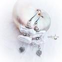 Biwa fülbevaló. fehér, Ékszer, Fülbevaló, Valódi  , kb.1,5-2 cm nagyságúbiwa gyöngyök  , antik fém díszítő  elemek  ,acél akasztó. ..., Meska