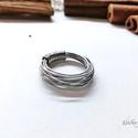 Acél gyűrű, különleges forma, Ékszer, Gyűrű, Ékszerkészítés, A gyűrű 0,8 mm-es acélszálak összefogásával készült. Alul szorosan rögzítettem. Az acél nem színező..., Meska