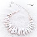 Biwa gyöngyös nyakék, fehér, Ékszer, Karkötő, Csodás fehér   biwa gyöngyöket válogattam ehhez a gyönyörű nyakékhez. A gyöngyök  1,5 és 3 cm között..., Meska