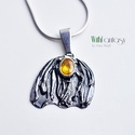 Zafír (sárga) medál, Ékszer, Medál, Egyedi, nyári, ezüst medál érdekes sárga zafírral ( Thailand). A medál kézzel készült, oxidált és po..., Meska