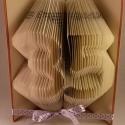 35 - Egyedi számos hajtogatott könyv origami - születésnapra - évfordulóra - két karakter - könyvszobor - E52, Dekoráció, Otthon, lakberendezés, Dísz, Kerti dísz, Papírművészet, Újrahasznosított alapanyagból készült termékek, Hajtogatott könyv vagy más néven könyv origami.  Egyedi elképzelés alapján bármilyen szöveg elkészí..., Meska