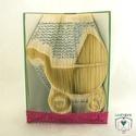 Babakocsi alakú hajtogatott könyv origami - Gyermekáldásra - Születés - könyvszobor - E182, Baba-mama-gyerek, Dekoráció, Otthon, lakberendezés, Dísz, Hajtogatott könyv vagy más néven könyv origami.   ****ALAP INFORMÁCIÓK**** A hajtogatott könyv ideál..., Meska
