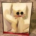 Macska mintájú hajtogatott könyv origami - cica szeretőknek - állatbarátoknak - E173, Dekoráció, Otthon, lakberendezés, Dísz, Hajtogatott könyv vagy más néven könyv origami.   ****ALAP INFORMÁCIÓK**** A hajtogatott könyv ideál..., Meska