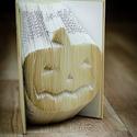 Tökfej mintájú hajtogatott könyv-Újrahasznosított-Mindenszentek-Halloween-Ijesztő- Lámpás-origami-E248, Dekoráció, Férfiaknak, Dísz, Ünnepi dekoráció, Papírművészet, Hajtogatott könyv vagy más néven könyv origami.   ****ALAP INFORMÁCIÓK**** A hajtogatott könyv ideá..., Meska