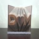 Egyedi feliratos hajtogatott könyv origami - nászajándék - Hölgyeknek - Uraknak - M szív CS - könyvszobor - E36, Esküvő, Magyar motívumokkal, Esküvői dekoráció, Nászajándék, Hajtogatott könyv vagy más néven könyv origami.  Egyedi elképzelés alapján bármilyen szöveg elkészít..., Meska
