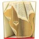 Macska szívvel könyvszobor-Állatbarátoknak-Cica-Gazdi-Ajándék-E169, Otthon, lakberendezés, Dekoráció, Dísz, Papírművészet, Hajtogatott könyv vagy más néven könyv origami.   ****ALAP INFORMÁCIÓK**** A hajtogatott könyv ideá..., Meska