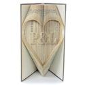 Nászajándék könyvszobor egyedi felirattal - Monogrammok - Esküvőre - Lakodalomba, Hajtogatott könyv vagy más néven könyv origami...
