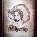 Egyedi,  keretes égetett kép - Kalapos nő, Esküvő, Férfiaknak, Nászajándék, Famegmunkálás, Fotó, grafika, rajz, illusztráció, A kép kézzel van beégetve a fába,  A választható méretek:    20x25 cm  A kép elkészítése 3-5 nap.  ..., Meska