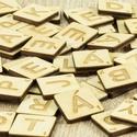 100 db Scrabble betű készlet - betű ajándék - scrapbook - lézervágott - társasjáték - gravírozott nászajándék - , Esküvő, Dekoráció, Esküvői dekoráció, Kép, Nyírfából készült teljes SCRABBLE betűkészlet,  100 darab betűvel.  Kreatív ajándékokhoz,..., Meska