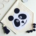 Panda textil gyerekszoba dekor, Baba-mama-gyerek, Dekoráció, Otthon, lakberendezés, Falikép, Panda mintás kézzel készített textil banner   A modern gyerekszoba jegyében készült textilbő..., Meska