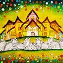 Fára festett meseváros, Otthon & Lakás, Dekoráció, Táblakép, Famegmunkálás, Festészet, Egyedi, lucfenyőfára festett, élénk színvilágú vidám festmény. Gyerekszobába, esetleg nappaliba ajá..., Meska