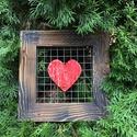 Piros szíves kép, barna kerettel, Dekoráció, Esküvő, Otthon, lakberendezés, Falikép, , Meska
