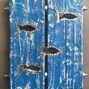 Kék halas, csavaros kép, Dekoráció, Otthon, lakberendezés, Kép, Falikép, Famegmunkálás, Fémmegmunkálás, A kép méretei: 27 x 20 cm  Fából készült, egyedi csiszolási technikával kékre antikolt, csavarokkal..., Meska