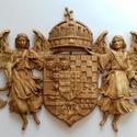 Angyalos címer - faragott, Dekoráció, Mindenmás, Otthon, lakberendezés, Kép, Famegmunkálás, Angyalos címer kőris fából. Mérete 52cm x 79cm, méhviasszal kezelve.   , Meska