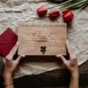 Esküvői doboz fényképeknek, Fából készült, mahagóni páccal kezelt esküv...
