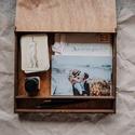 Emlékdoboz, fényképtartó doboz, esküvői doboz, Fából készült, mahagóni páccal kezelt emlék...