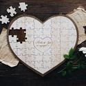 Szíves kirakós gravírozott esküvői vendégkönyv / Alternatív vendégkönyv /Nászajándék, Fából készült, a házasulandó pár nevével g...