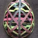 Papír tojás, Dekoráció, Dísz, Sziasztok ezt a díkorációt papír gurigából készítettem,melyet lefestettem színesre feldarab..., Meska