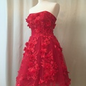 Myriam ruha, Ruha, divat, cipő, Esküvői ruha, Női ruha, Ruha, Varrás, A ruhát piros 3d csipkével készítettem. A szoknyarész alatt tüll van, ez adja a szép tartasát.  A r..., Meska