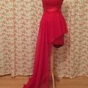 Alett ruha, Ruha, divat, cipő, Női ruha, Ruha, A ruha piros pamutszaténból készült, bélelése fekete- piros mintás selyem. Hosszú szoknyaré..., Meska
