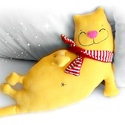 Cica, macska párna, Baba-mama-gyerek, Játék, Otthon, lakberendezés, Játékfigura, Mókás, puha cica párna, utazáshoz is ideális a mérete miatt.  Kérlek írd meg, milyen színben kéred! ..., Meska