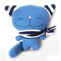 Kék cica, Baba-mama-gyerek, Játék, Játékfigura, Plüssállat, rongyjáték, Baba-és bábkészítés, Varrás, Puha, ölelgethető, vidám cica. Kiváló játszótárs. A legkisebbeknek is adható.  20 cm magas+a fülei...., Meska
