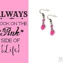 Pink jáde fülbevaló, Ékszer, Fülbevaló, Pink színű jáde gyöngyökből készítettem ezt az akasztós fülbevalót, bronz színű szerelékek felhaszná..., Meska