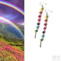 """""""Rainbow"""" - extra hosszú fülbevaló, Ékszer, Fülbevaló, Somewhere over the rainbow..... Szintetikus türkiz gyöngyökből készítettem ezt a fülbevalót,..., Meska"""