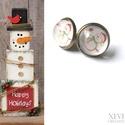 """""""Mosolygós hóember"""" - üveglencsés fülbevaló, Ékszer, Dekoráció, Karácsonyi, adventi apróságok, Fülbevaló, Ünnepi dekoráció, Vidám, mosolygós hóembert ábrázoló mintás papírt ragasztottam az üveglencse aljára, melyet..., Meska"""