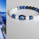 """""""Santorini"""" ásványkarkötő, Ékszer, Karkötő, 8 mm-es fehér jáde és különböző árnyalatú kék ásványgyöngyökből készítettem ezt a k..., Meska"""