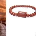 """""""Őszi csillogás"""" ásványkarkötő, Ékszer, Karkötő, 6 mm-es barna goldstone gyöngyökből és egy nagyobb, tégla alakú goldstone gyöngyből fűztem gumis dam..., Meska"""