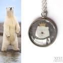 Jegesmedvés nyaklánc, Ékszer, Nyaklánc, 25 mm-es lapos üveglencsét ragasztottam a jegesmedve királynőt ábrázoló papírra, amit végü..., Meska