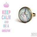 """""""Unicorn"""" - üveglencsés gyűrű, Ékszer, Gyűrű, Unikornist ábrázoló képet ragasztottam üveglencse alá, amit bronz színű gyűrűalapba ragasz..., Meska"""