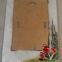Vintage képkeret, Otthon & Lakás, Képkeret, Dekoráció, Decoupage, transzfer és szalvétatechnika, 18x13 cm-es üvegfestett és decoupage technikával - vintage stílusban - készült képkeret  Akril és ü..., Meska