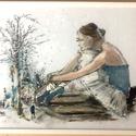 A BALERINA ÁLMA üvegfestmény, Otthon & Lakás, Dekoráció, Kép & Falikép, Festészet, Festett tárgyak, Az ötletet a balerina kecses figurája és tűnődő arca adta. Ahogy elképzeli a világot jelentő deszká..., Meska