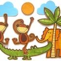 DZSUNGEL játékcsomag, gyerekszoba dekoráció 7 db nagy figurával, Baba-mama-gyerek, Játék, Készségfejlesztő játék, Gyerekszoba, NAGY MÉRET   SZAFARI készségfejlesztő játék / gyerekszoba dekoráció 7 db pamut-filc figurával. Az ál..., Meska