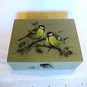 Teafilter tároló ládika cinegékkel, Otthon, lakberendezés, Tárolóeszköz, Doboz, Nagyon szeretem a madarak. Szinte minden alkotásom ők ihletik. Ebben az esetben egy kis tároló v..., Meska