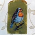 Dekor táblácska madárkával, Dekoráció, Dísz, Fa táblácskára, temperával festve. Dekorációnak ajtóra, falra, kilincsre.... vagy meglepheted vele i..., Meska