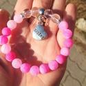 """Pink """"sister"""" medálos ásványkarkötő , Ékszer, Karkötő, Gyönyörű pink-fekete, csiszolt, 8mm átmérőjű  pink achát vagy rózsakvarc ásvány gyöngyö..., Meska"""