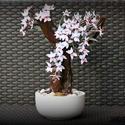 orchidea bonsai  dekoráció, Dekoráció, Otthon, lakberendezés, Dísz, Asztaldísz, Mindenmás, Papírművészet, Egyedi teljes egészében kézzel készített virág dekoráció.Magassága 30 cm.Barna fatörzsön ami egyedi..., Meska