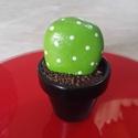 Kavicskaktusz 1, Dekoráció, Otthon, lakberendezés, Dísz, Kerti dísz, Duna parton szedett kavicsot festettem meg akrilfestékkel kaktuszosra. :) A cserépbe modellgipsz seg..., Meska