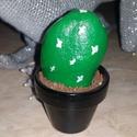 Kavicskaktusz 3, Dekoráció, Otthon, lakberendezés, Dísz, Kerti dísz, Duna parton szedett kavicsot festettem meg akrilfestékkel kaktuszosra. :) A cserépbe modellgipsz seg..., Meska