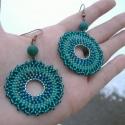 Ménaká-fülbevaló, Egyedi, nagyon dekoratív türkiz árnyalatokban m...